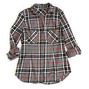 Stitch Fix Market Spruce Gray Katlan Plaid Flannel